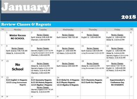 Schedule of Review Classes and Regents Exams