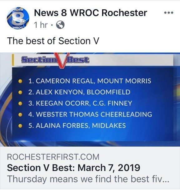 News 8 #1 Story - Cameron Regal, Section V!