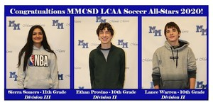 Congratulations Sierra, Ethan and Lance on being named 2020 LCAA Soccer All-Stars!!
