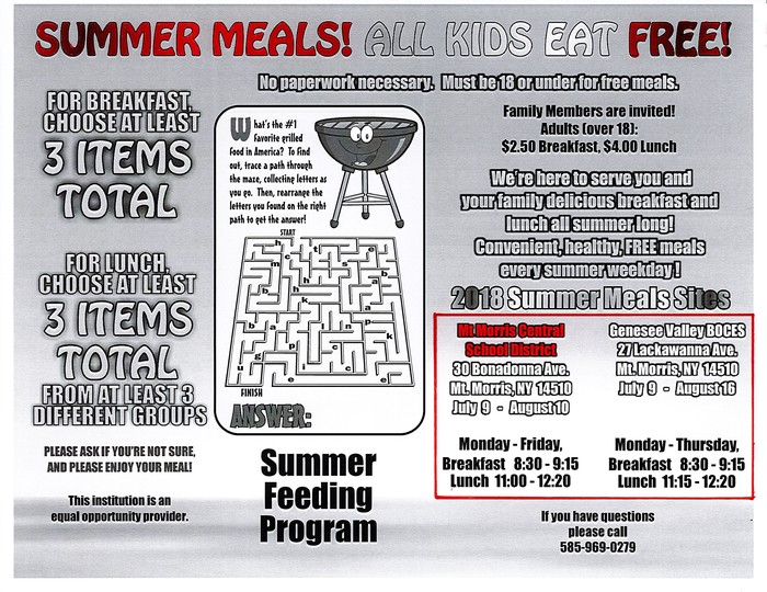 Summer Feeding Program Flier 2018