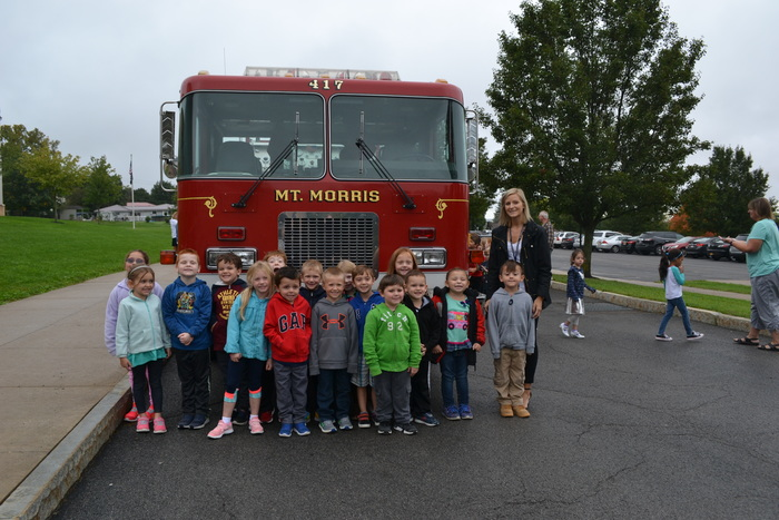 class with fire truck