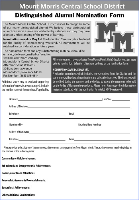 Distinguished Alumni Nomination Form