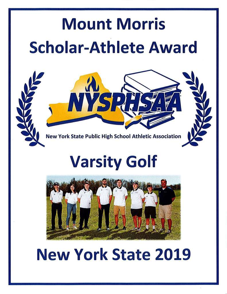 Scholar-Athlete Award Plaque for V Golf Team