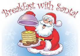 santa holding plate of pancakes and sausage