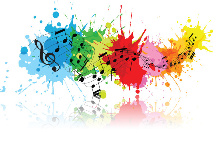 music notes in multi color splatter paint