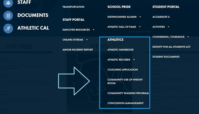 snapshot of athletics section of the district website