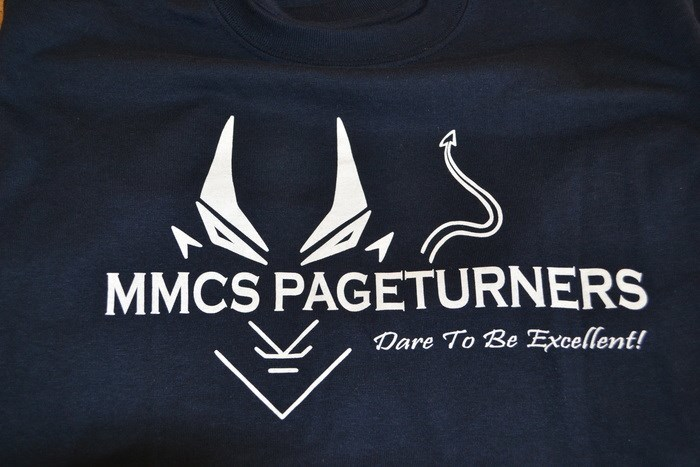 mmcs pageturners logo on tshirt