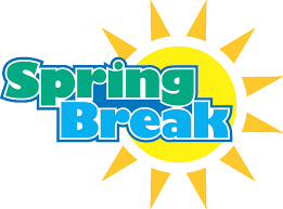 spring break text with a sun graphic