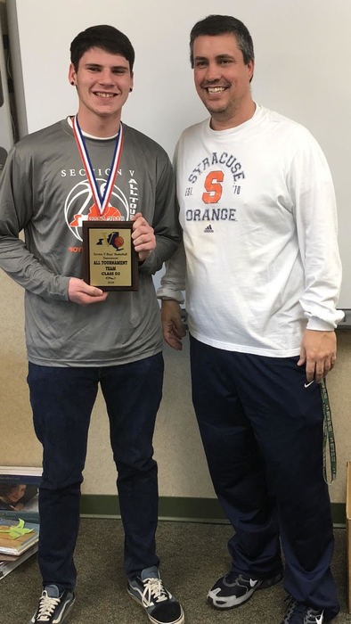 josh hart holding tournament award pictured with coach stout