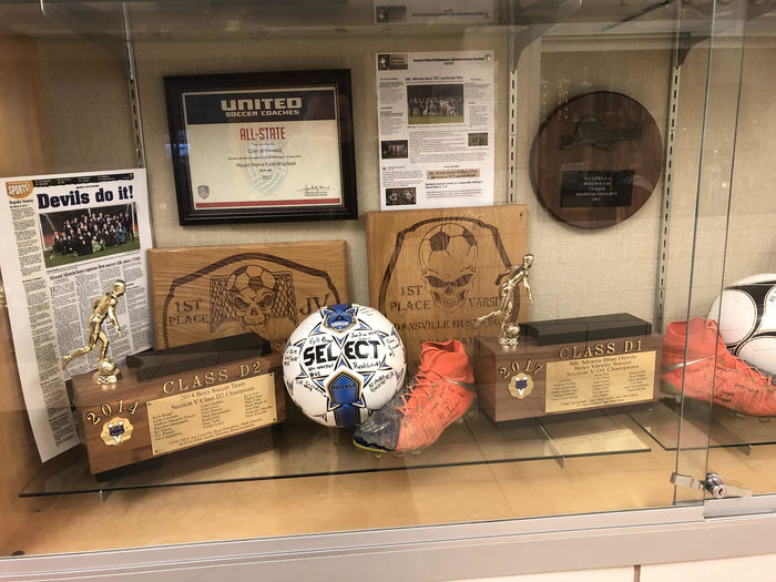 Mount Morris CSD athletic trophy case