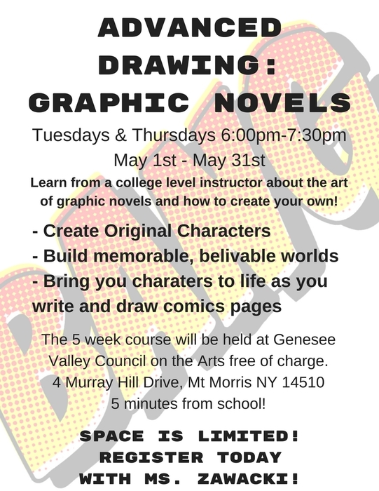 advanced drawing graphic novels flyer