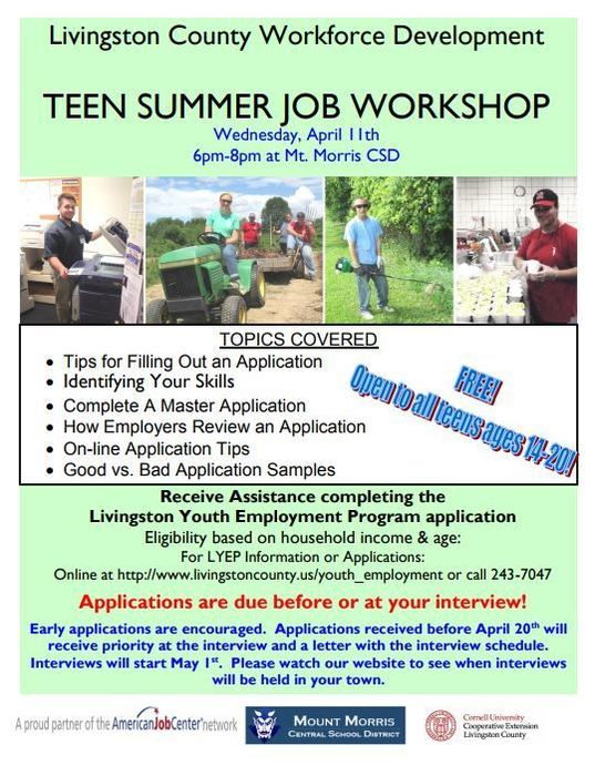 summer job workshop flier